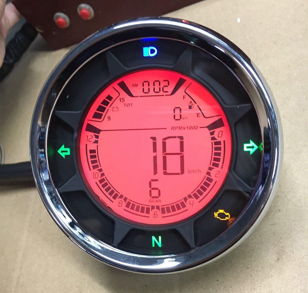 299kmh LCD Digital Odom/ètre Tachym/ètre Speedo Compteur Vitesse Moto ATV Gear