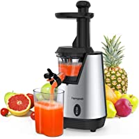 Homgeek Slow Masticating Juicer,Electric Juice Extractor with 200W Quite Motor for High Nutrient Fruit and Vegetable Juice, with 600ml Juice Cup and Brush,Silver&Black