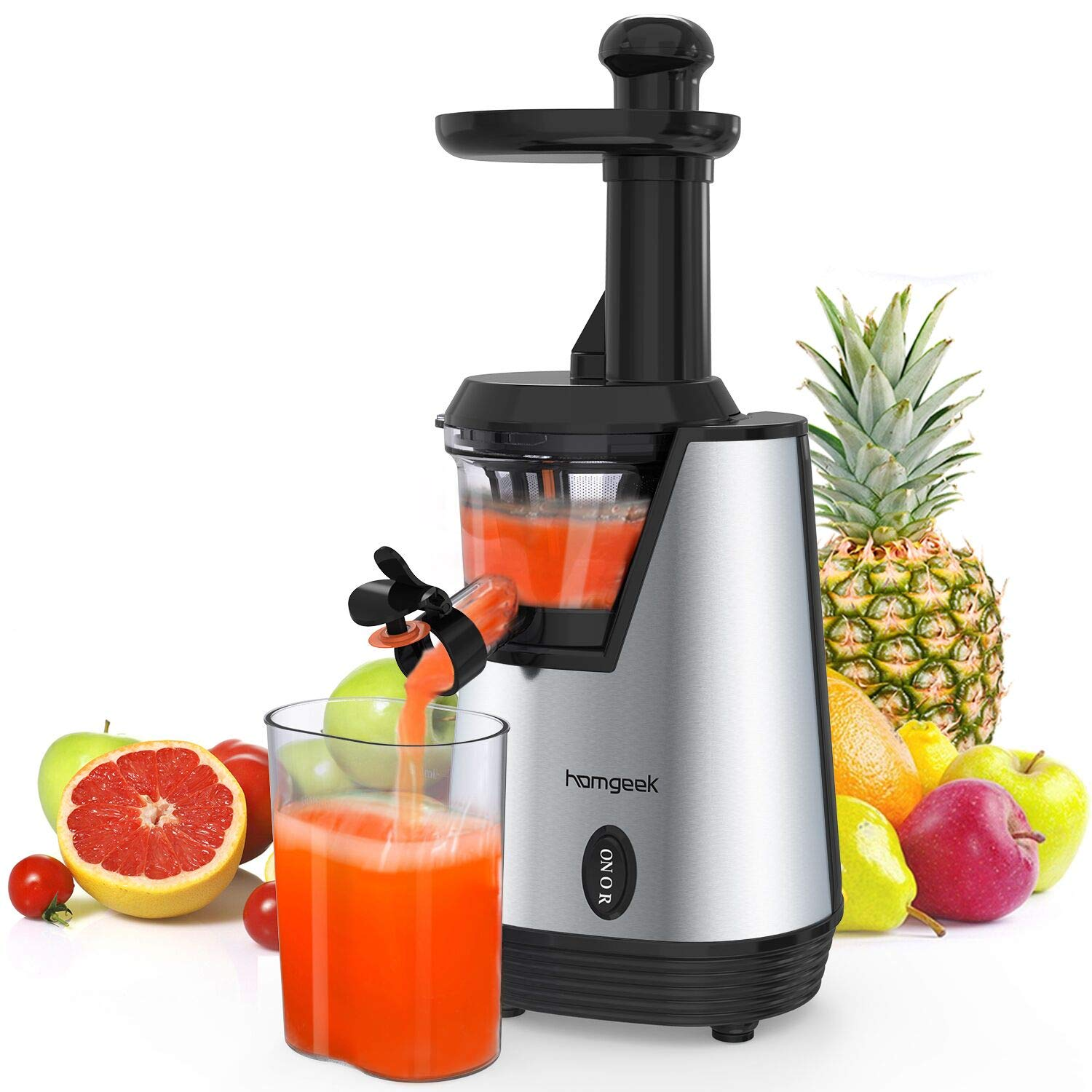 Homgeek Slow Masticating Juicer,Electric Juice Extractor with 200W Quite Motor for High Nutrient Fruit and Vegetable Juice, with 600ml Juice Cup and Brush,Silver&Black [Energy Class A+++]