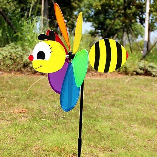 vap26 Molino de Viento Giratorio para Tomar Fotos para niños, Juguete para decoración del hogar, jardín, niños, Bloqueo de RFID, diseño de Flores, Mariposas, Adorno de jardín (Abeja): Amazon.es: Jardín