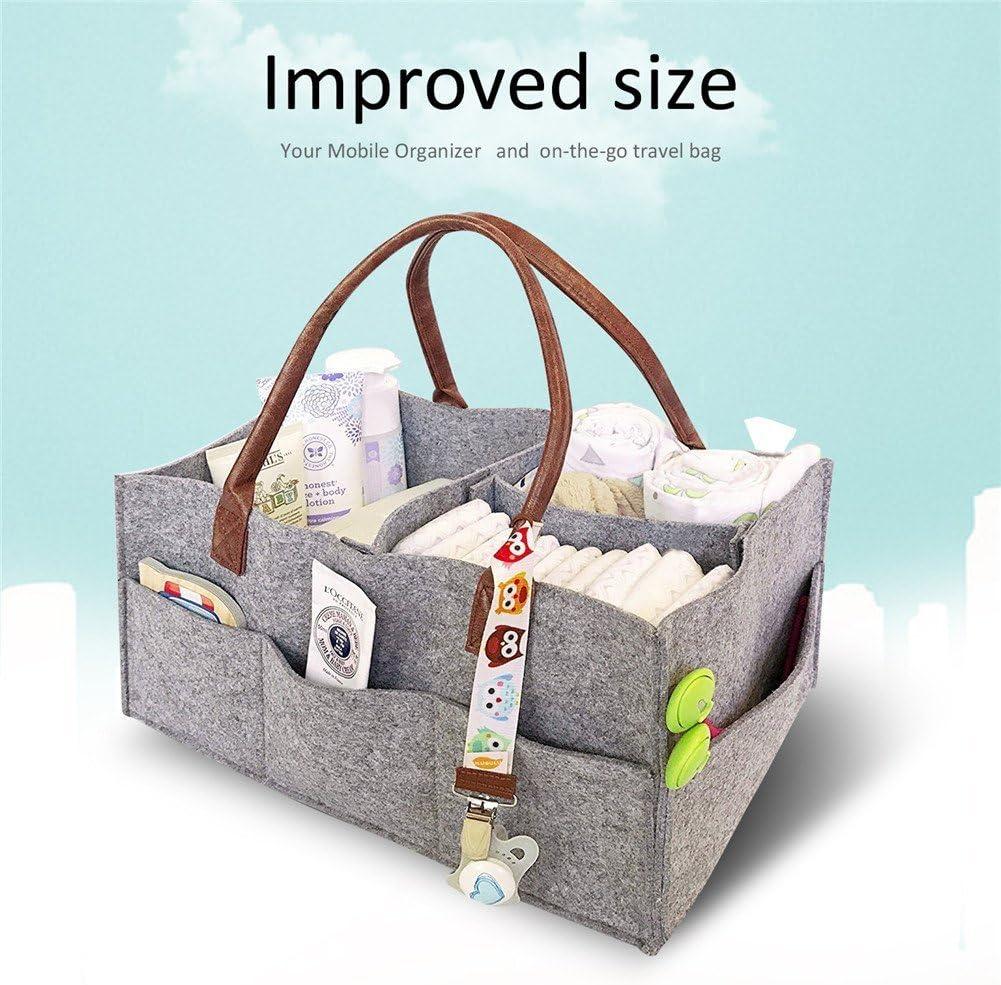 Baby Diaper Caddy Portable Nappy Organiser Foldable Gray Felt Storage Bag Baby Diaper Caddy Nursery Storage Children Toys Tote Organizer