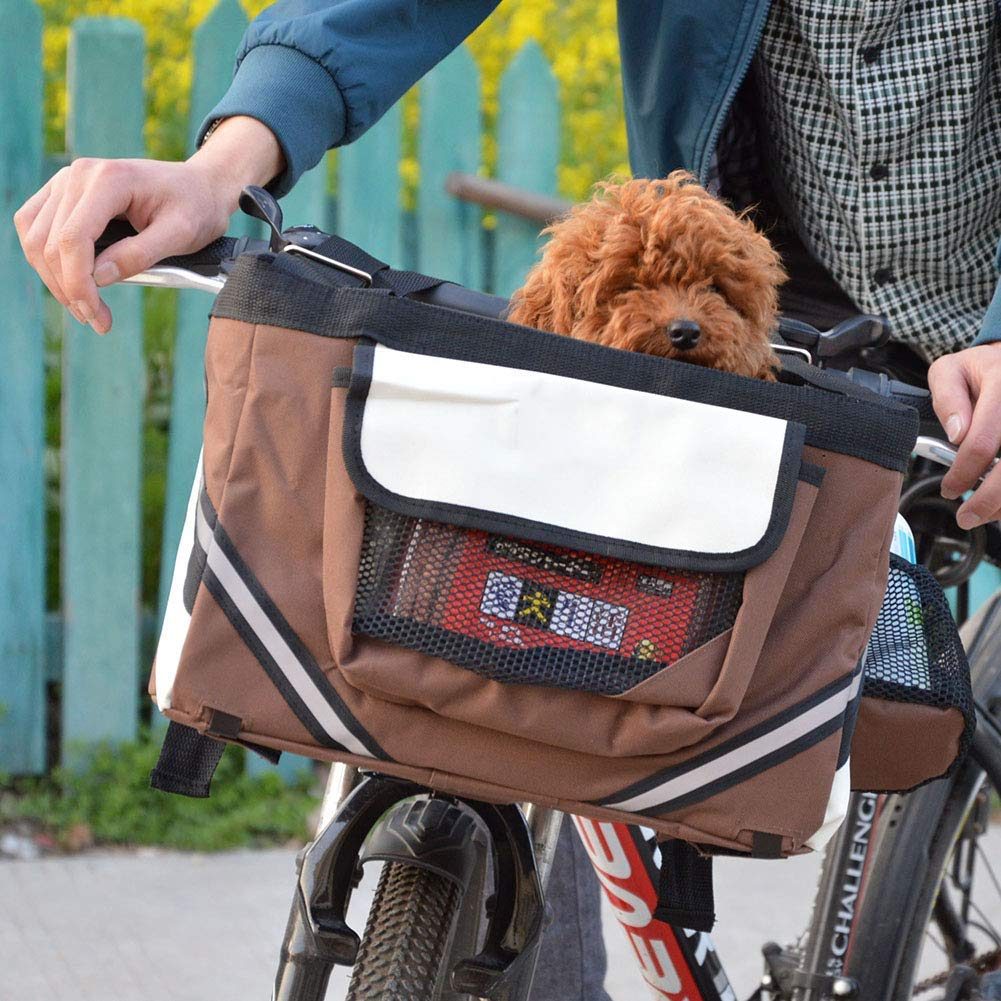QNMM Bicycle Pet Carrier, Dog Bike Front Carrier with Small Pockets, Bicycle Handlebar Small Pet Carrier with Shoulder Strap,38x 27x 26cm,Brown