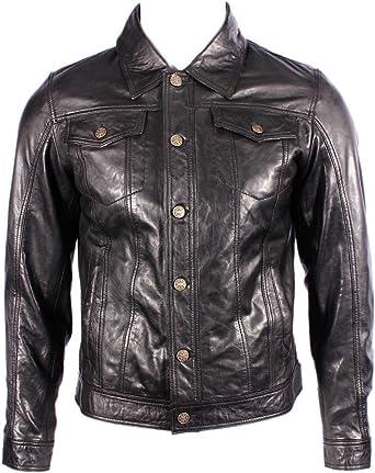 Para hombre del camionero Denim Western Slim Fit Camisa de cuero Negro Jeans Chaqueta de motorista: Amazon.es: Ropa y accesorios