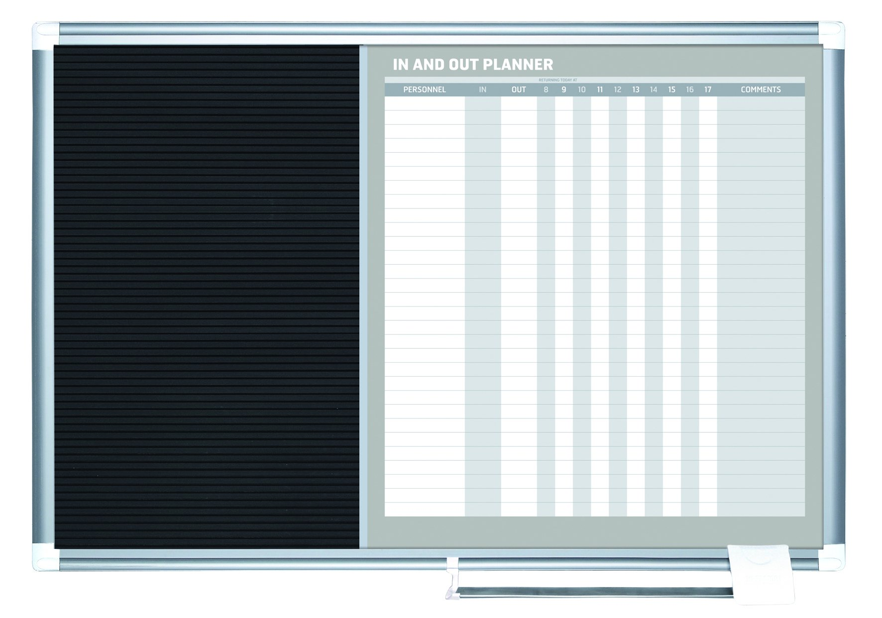 MasterVision In-Out Planning Board Magnetic Dry Erase/Letter Board, 24'' x 36'', Aluminum Frame
