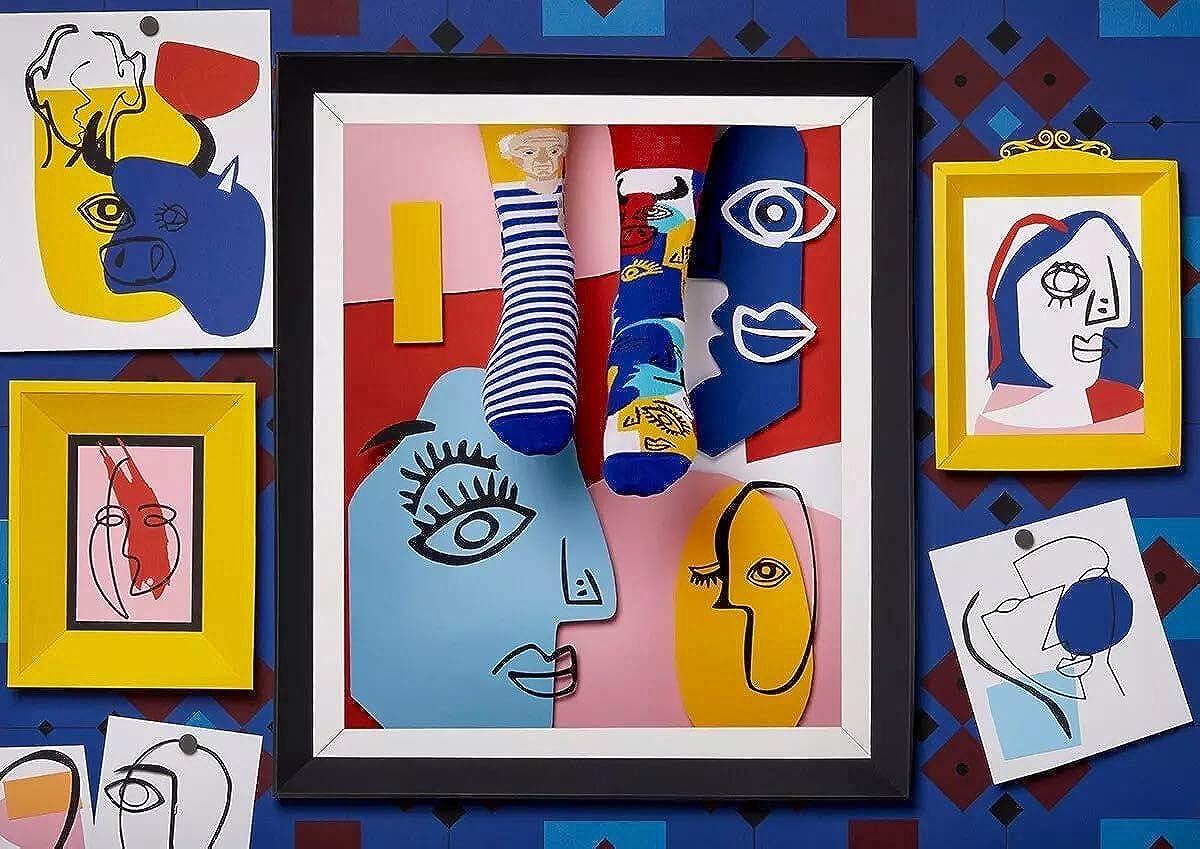 sculpteur figure c/él/èbre coton artiste Many Mornings Picassocks Chaussettes multicolores avec peintre