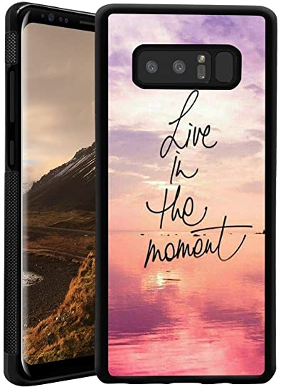 new style 658f1 bf248 Live in The Moment Case for Samsung Galaxy Note 8 Customized Design by  MERVELLE TPU and PC Black Shock-Proof Protective Case [Anti-Slippery]