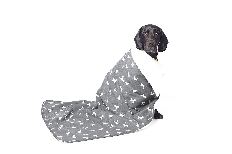 MOG & BONE Plush Blanket Grey Designer Dog Print