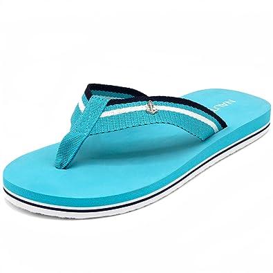 f11d63ce2732 Nautica Women s Downhaul Flip-Flop Stripe Strap Sandal-Scuba Blue-8   Amazon.co.uk  Shoes   Bags