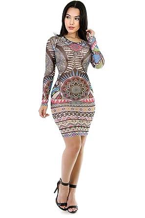 d573bebaa22 Amazon.com  GITI ONLINE Tattoo Mesh Bodycon Dress S Multi Print ...
