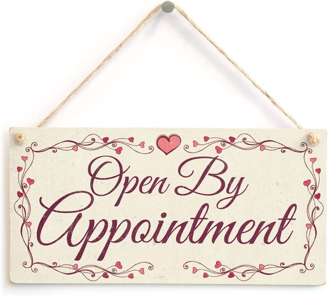 """Meijiafei Open by Appointment - Sign with Pretty Love Heart Design 10""""x5"""""""