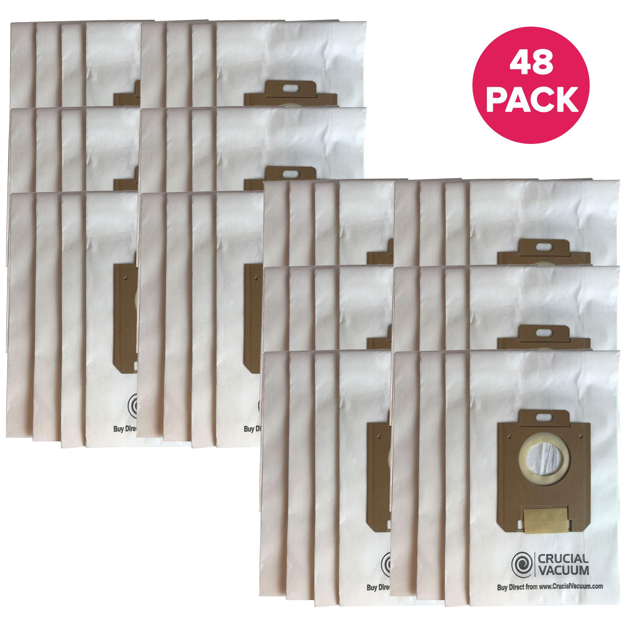 Crucial Vacuum Replacement Vacuum Bag Compatible with Electrolux OX & Eureka S Paper Bags Part # 61230, 61230a, 61230b, 61230c - Fit Harmony Oxygen Paper Bag - Compact Disposable Paper Bags (48 Pack)