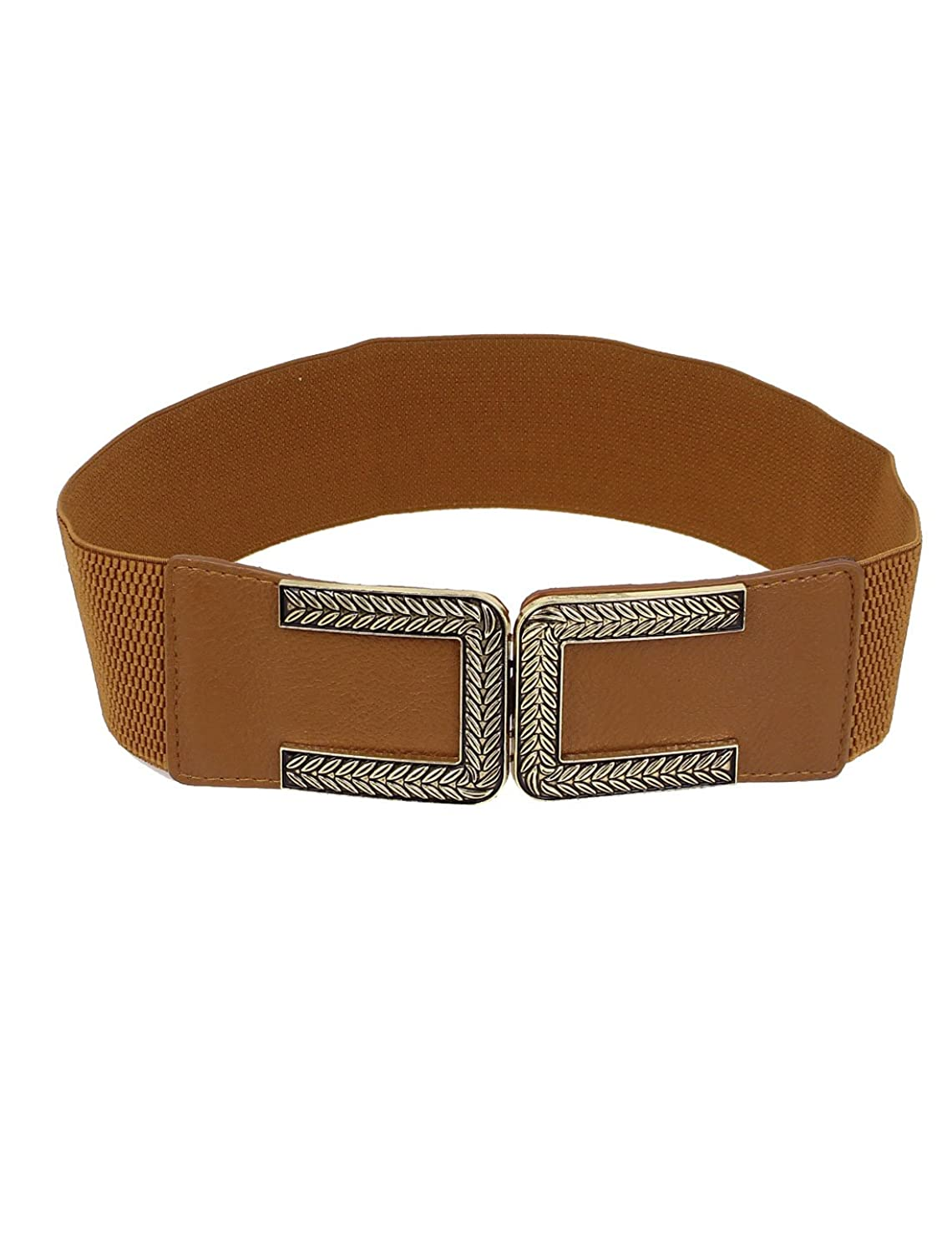 Metal Leaf Carved Interlock Buckle Stretch Cinch Waist Belt Band Brown
