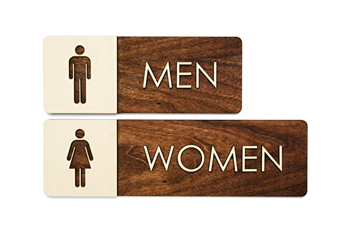 Amazon Men Women Restroom Sign Set Modern Wood Bathroom