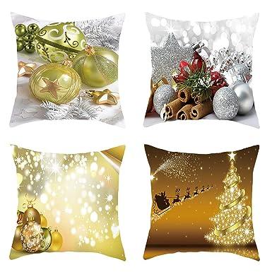 Goosun Navidad Funda De Cojín De Almohada Set De 4 Fundas ...