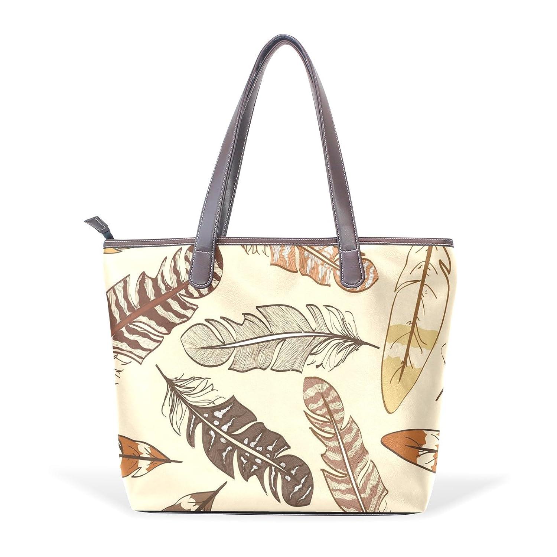 Womens Leather Tote Bag,Cartoon Vintage Animal Feather,Large Handbag