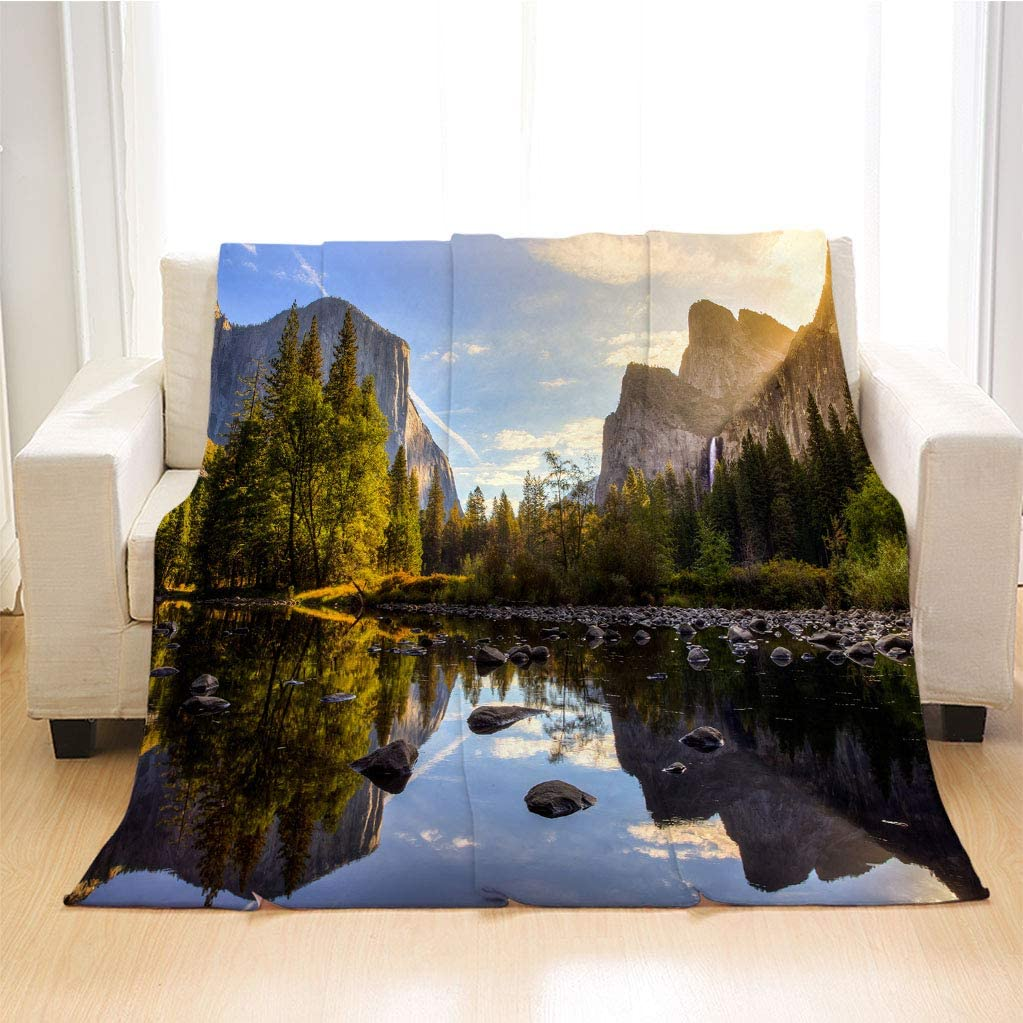 BEIVIVI Yosemite Soft Blankets, Weighted Blanket,Sunrise On Yosemite Valley Yosemite National Park,Throw Blankets for Couch,King Size: 90Wx104L Inch