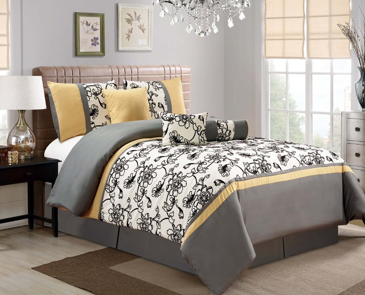 7 Piece Modern Oversize Yellow / Black / White / Grey Floral Comforter set QUEEN Size Bedding