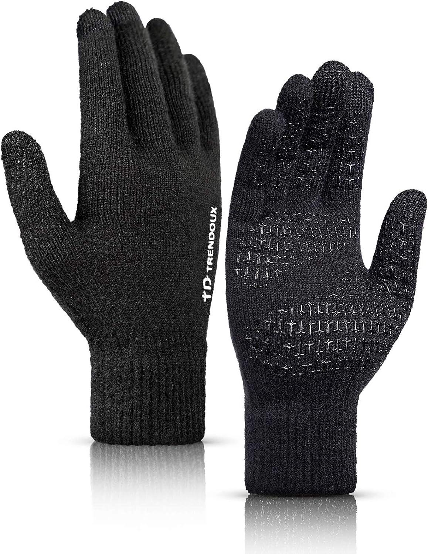 TRENDOUX Winter Gloves Men Women Unisex Touch Screen Glove - Non-slip Grip - Elastic Cuff - Knit Warm Stretchy Material