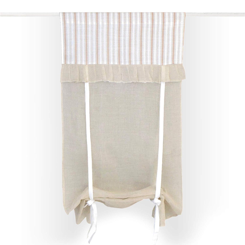 Tenda finestra Shabby Chic 60 x 150 Colore Beige/Bianco / Nocciola GLShabby