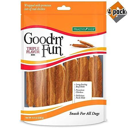 Good n Fun Triple Flavor Rawhide Ribs for Dogs w Premium Chicken