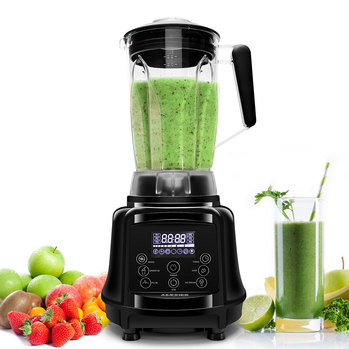 Professional Blender AIMORES, 75oz 3-in-1 Programmable Smoothie Juice Ice Cream Mixer, High Speed (28,000 rpm), Auto Clean & Timing, 6 SS Blades - ETL/FDA Approved - w/ Tamper & Recipe (Black) by Aimores