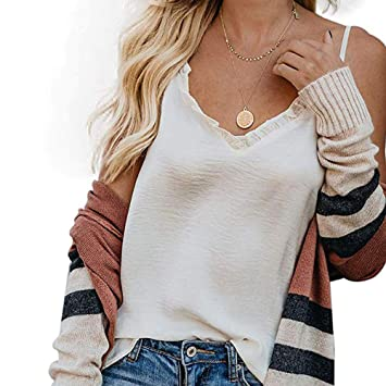 9497c1c1991db5 NUWFOR Women Fashion Down V Neck Strappy Tank Top Loose Casual Sleeveless  Shirts Blouse(White