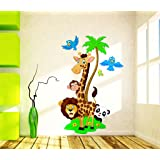 Wallstick 'Jungle Cartoon Cute Animal' Wall Sticker (Vinyl, 49 cm x 4 cm x 4 cm)