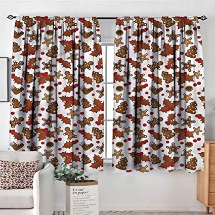 Amazon Com Christmas Iving Room Curtains Holly Berry Cookies 104