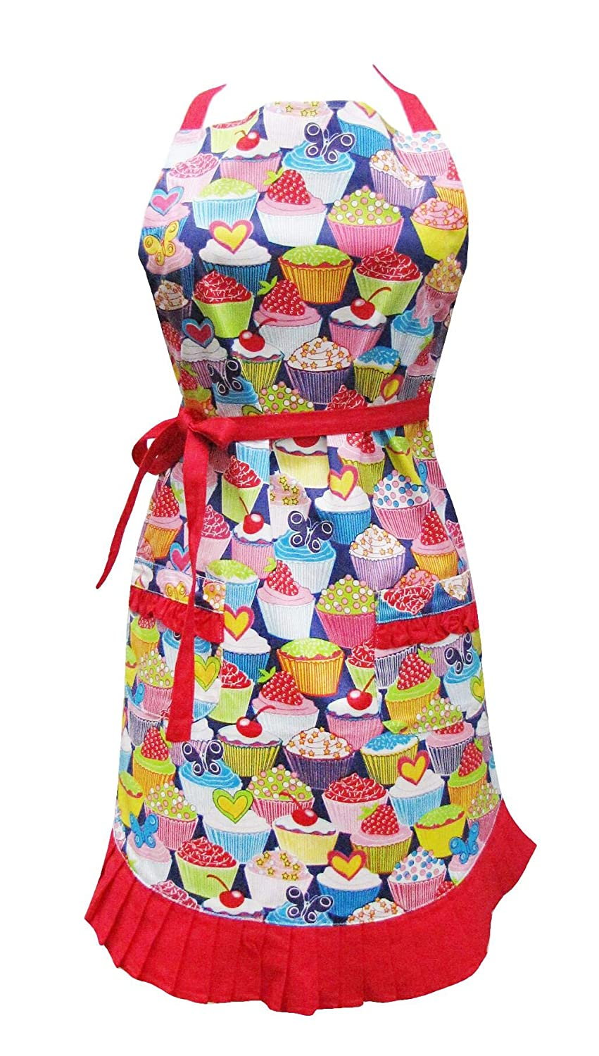 Two Lumps of Sugar Adult Ruffle Apron - Cupcakes Design