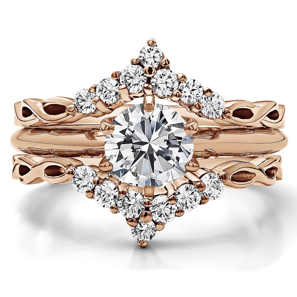 TwoBirch 0.45 ct. Cubic Zirconia Infinity Chevron Ring Guard Enhancer in Rose Gold Plated Sterling Silver (1/2 ct. twt.) by TwoBirch (Image #4)