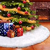 "Christmas Tree Skirt Plush Faux Fur 30.7"" For Christmas Holiday Party Decoration By MROINK"