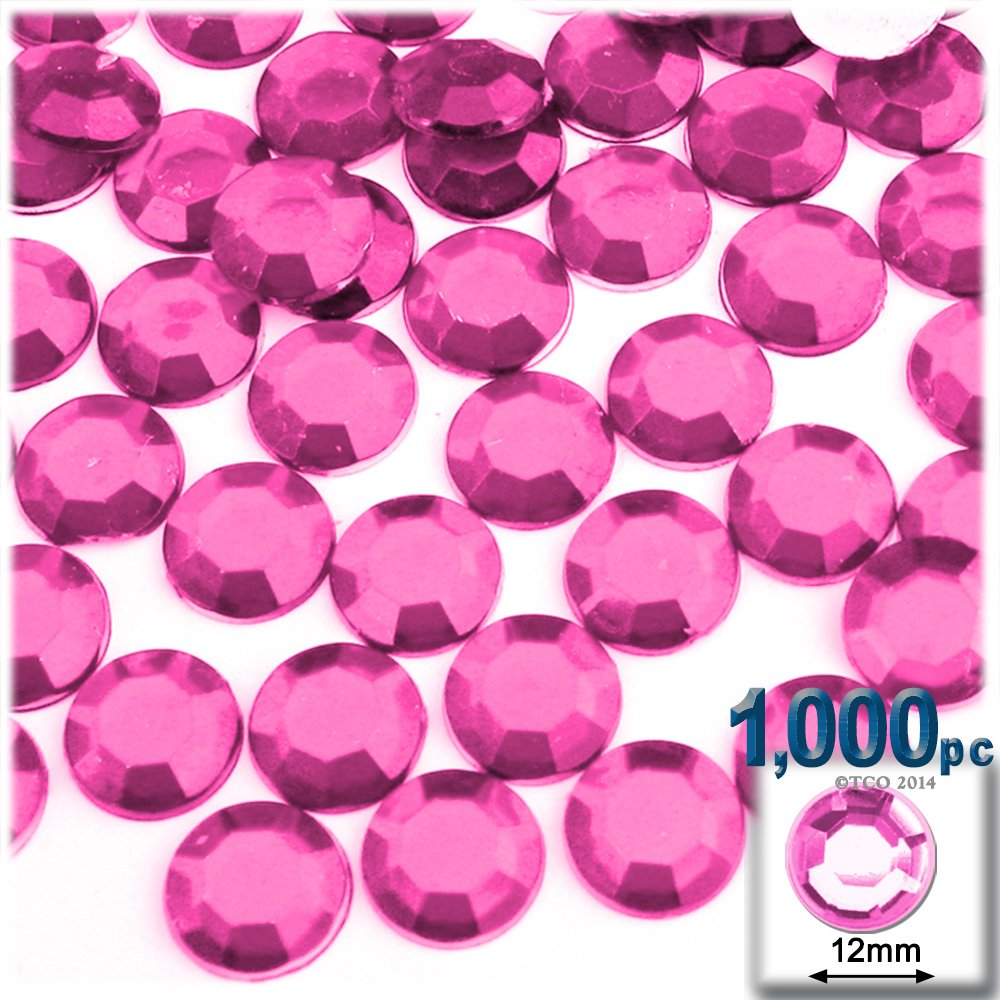 The Crafts Outlet 1000-Piece Flatback Round Rhinestones, 12mm, Hot Pink by The Crafts Outlet