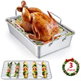 Roasting Pan, E-far 14 Inch Stainless steel Turkey Roaster with Rack, Include Deep Lasagna Pan & V-shaped Rack…