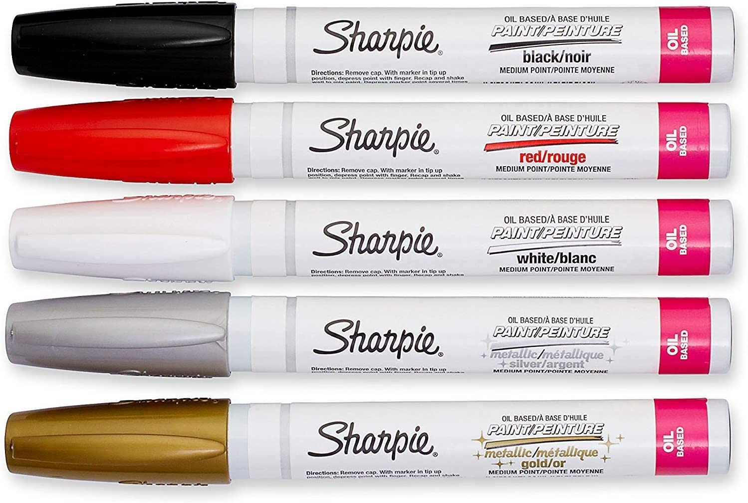 Sharpie Oil-Based Paint Markers, Medium Point, Assorted & Metallic Colors, 5 Count - Great for Rock Painting (New Version)