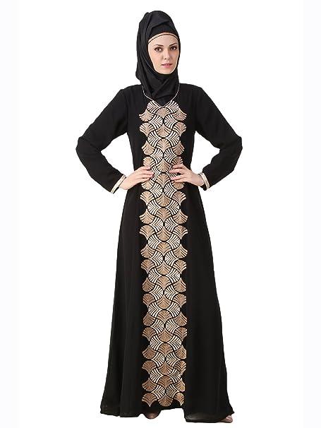 Capa MyBatua Anam Negro Hermoso tradicional musulmana Abaya AY-487 (XS)