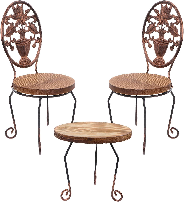 Angoily 3 Piezas de Muebles de Jardín de Hadas Adornos de Mesa Y Sillas en Miniatura Estatuilla de Pueblo de Hadas de Madera para Accesorios de Casa de Muñecas Decoración de Paisaje