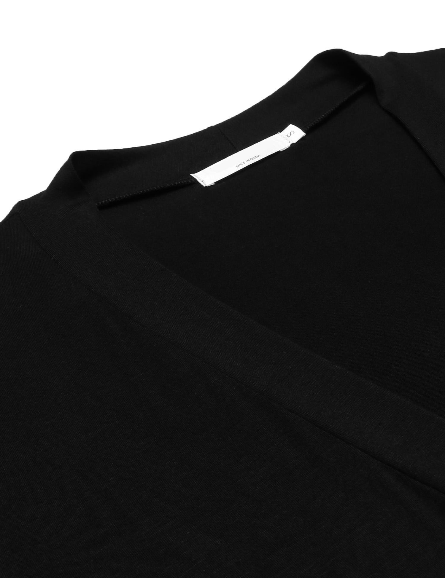 Zeagoo Women\'s long Sleeve Draped Open Front Longline Asymmetrical Hem Kimono Cardigan w/ Belt (Black/M)