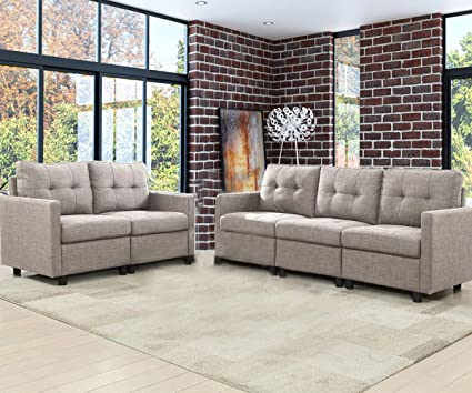 5-Piece Living Room Furniture Sets, Fabric Love Seat and 3 Seat Sofas - Grey