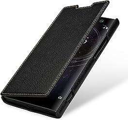 StilGut Housse pour Sony Xperia XA2 en Cuir véritable et à Ouverture latérale, Noir