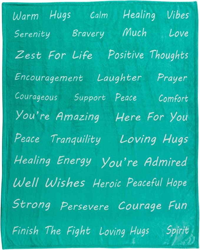 Healing Thoughts Throw Blanket Inspiring And Comforting Positive Words Get Well Gifts Teal 50 X 60 Gift Ready Home Kitchen