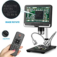 Andonstar AD206 Black 200X Digital Microscope 7 Inches LCD Display 1080P Digital Magnifier with Metal Stand for Circuit…