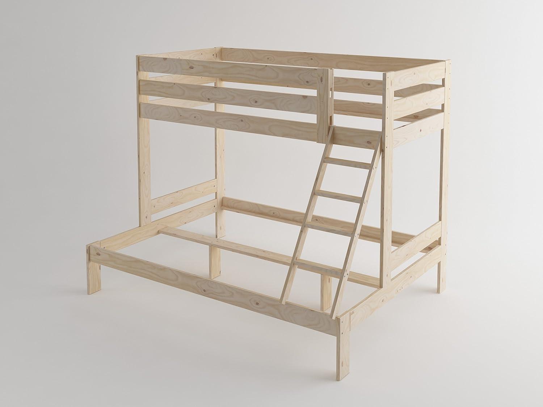 Estructura De Litera Triolo 3 Personas 190 Cm Madera Maciza  # Muebles Lufe Instrucciones
