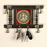 ExclusiveLane 'Brass People On Teak Wood' Warli Hand-Painted Key Hanger Stand for Home Cum Wall Decorative Wooden Key Holder (Brown) (25.9 cm x 4.0 cm x 19.5 cm)