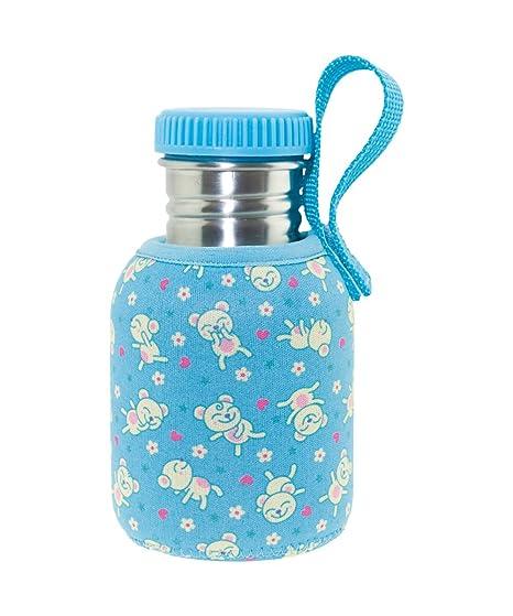 Laken Botella de Acero Inoxidable con Tapón de Rosca y Boca Ancha + Fundas Neopreno 0,35L Azul