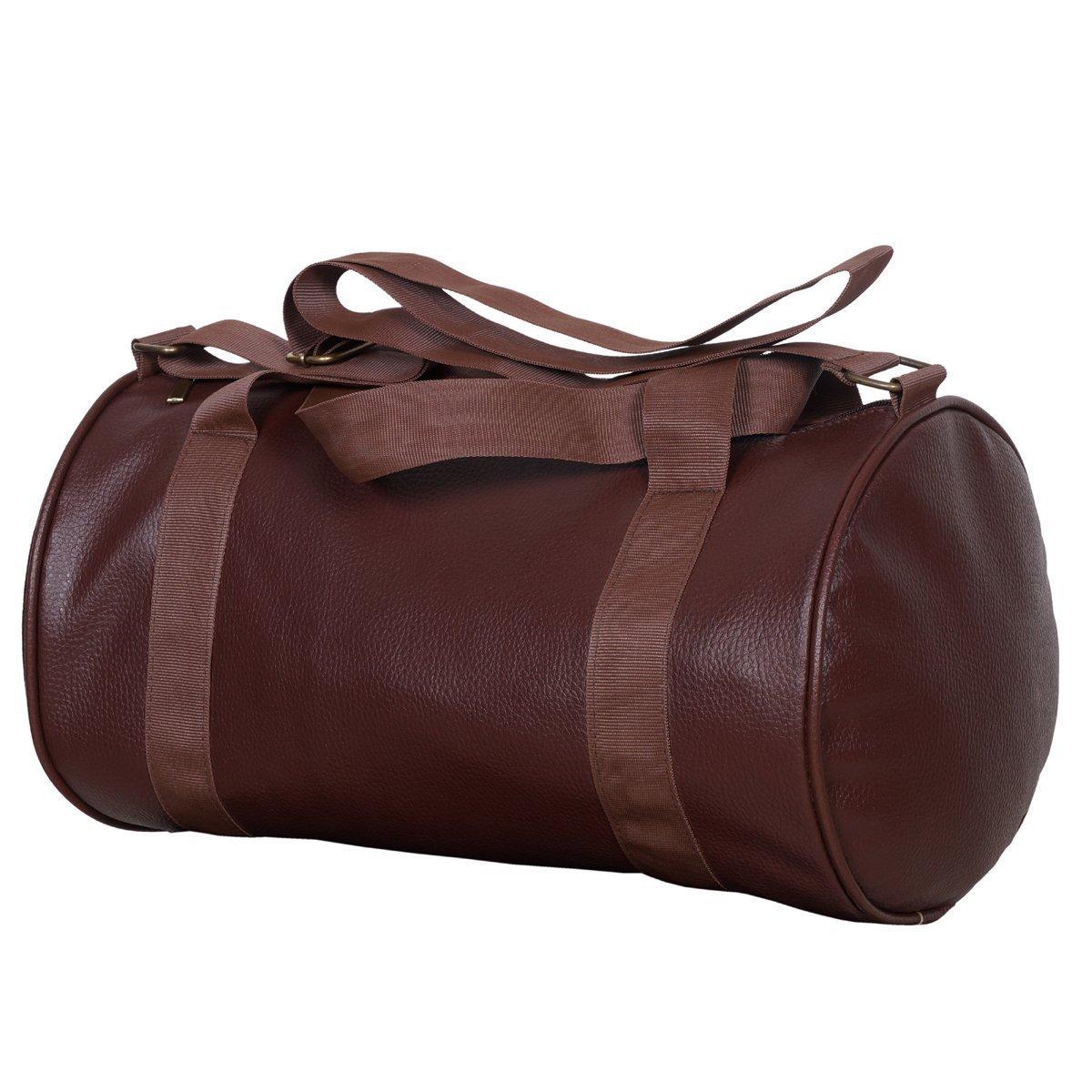 CP Bigbasket Leather Soft Gym Bag (Brown)