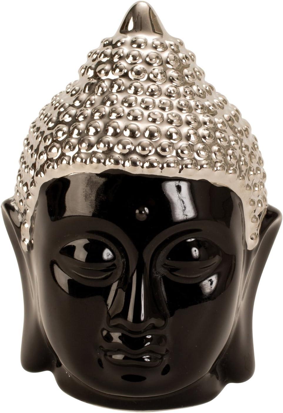 Scultura moderna Testa di Buddha in porcellana nera argento altezza 13,5 cm