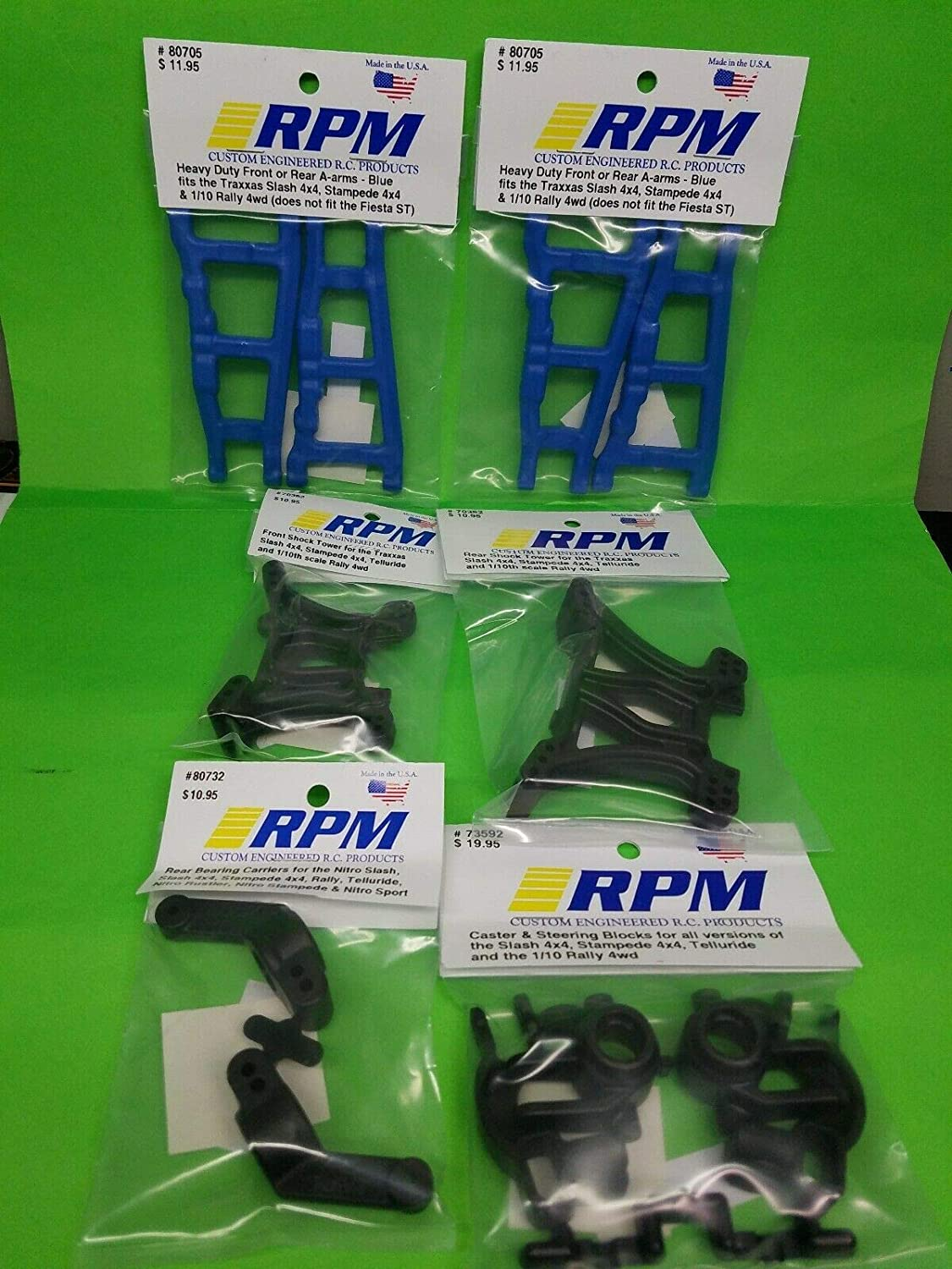 RPM 80705 Front//Rear A-Arms Blue Slash//Stampede 4x4 Blue