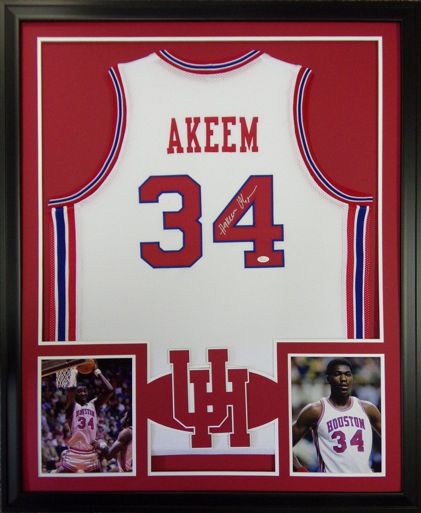 765fdeb02 Akeem Hakeem Olajuwon Houston Cougars Autograph Signed Custom Framed Jersey  JSA Witnessed Certified at Amazon s Sports Collectibles Store