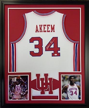 Akeem Hakeem Olajuwon Houston Cougars Autograph Signed Custom Framed Jersey  JSA Witnessed Certified 8d11b2e05