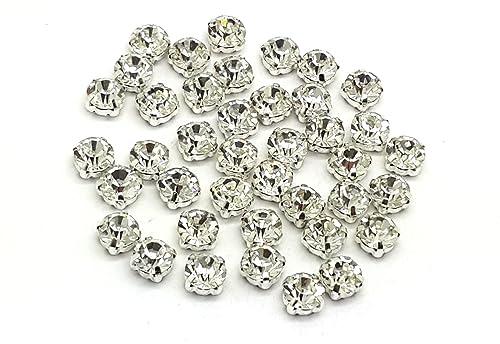 Hochwertige Eimass Strasssteine Zum Aufnähenaufkleben Geschliffene Glaskristalle In Silber Und Goldhülle 100 Stück